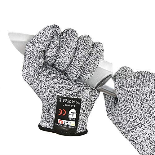 MIG4U Kids Cut Resistant Gloves Food Grade Small Hands Protection Safety Glove for Cutting, Wood Carving, Gardening, Crafts, Kitchen and School Home DIY Work, High-Performance Level 5 Protection Grey