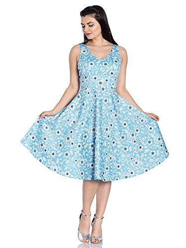 Hell Bunny - Vestido - Floral - Sin mangas - para mujer azul XXXL