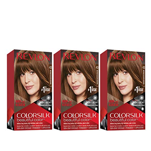 Revlon ColorSilk hermoso color, marrón dorado medio, 3 unidades