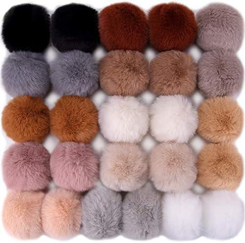 BQTQ 26 Pieces Faux Rabbit Fur Pom Pom Keychain Fluffy Balls Pom Poms with Elastic Loop for product image