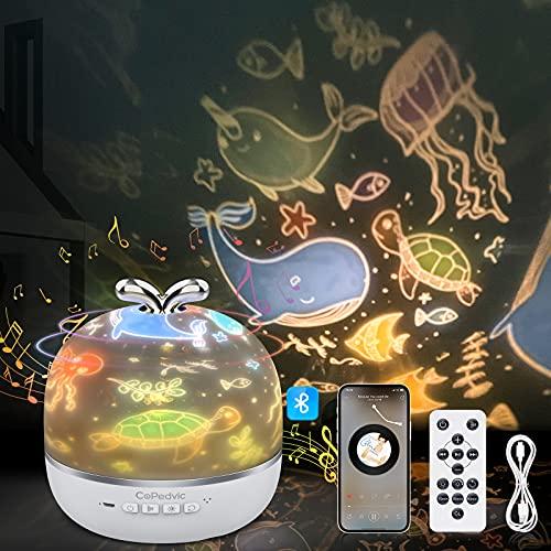 3 in 1 Lampada Proiettore Stelle Bambini, CoPedvic Luce Notturna Bambini Neonati con LED Altoparlante Bluetooth Cielo Stellato Proiettore Stelle Soffitto 360°Rotazione Proiettore con Telecomando