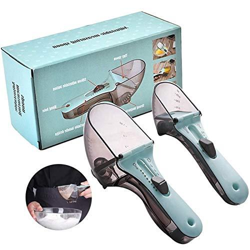 2 Piezas Juegos de Cucharas Medidoras,Tazas y Cucharas Medidoras Ajustable,Cucharas de Medición Cuchara Dosificadora Plastico Medidores Cocina para Medir Líquidos y Los Ingredientes Secos