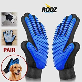 Rodz Premium Hand Pet Grooming Glove - Gentle Pet Hair Remover Brush Mitts - Efficient Deshedding Massage Bathing Brush Gloves For Cats And Dogs - Enhanced Finger Design With Adjustable Strap - 1 PAIR