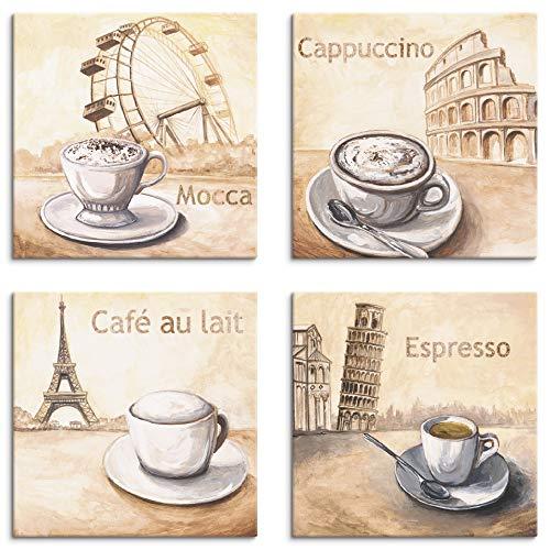 Artland Leinwandbilder auf Holz Wandbild Bild Set 4 teilig je 20x20 cm Quadratisch Essen Getränke Kaffee Malerei Creme Cappuccino Cafe Espresso S6MM