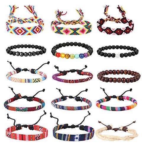 Jstyle 15Pcs Ethnic Tribal Bead Bracelet for Men Women Boho Hemp Cords Wood String Bracelet Woven Strand Bracelet