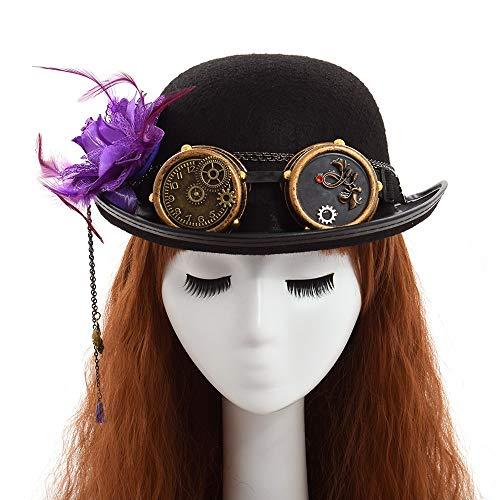 YYWDJSMZ Cappello Fedoras Lady Vintage Steampunk Gear Occhiali Cappello a Cilindro Nero Coppie Unisex Copricapo Bombetta Marrone