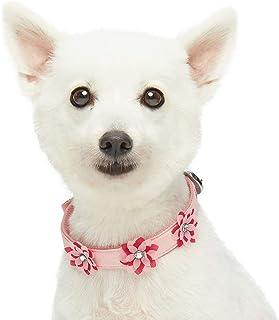 Umi. by Amazon - Designer - Collar para perros con bonito estampado de flores y hebilla metálica M, cuello 33-42 cm (rosa bebé)