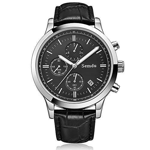 New Men Fashion Sports Chronograph Quartz 3 ATM Waterproof Genuine Leather Luminous Wristwatch (Black-White dial)