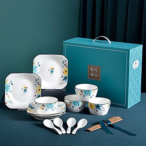 LTPY Conjunto de vajillas para la Cena, Cuencos y Platos de vajilla de cerámica creativos y Platos Pintados a Mano Placa de Comedor de Placa de arroz combinación de Sopa de Sopa,16PCS