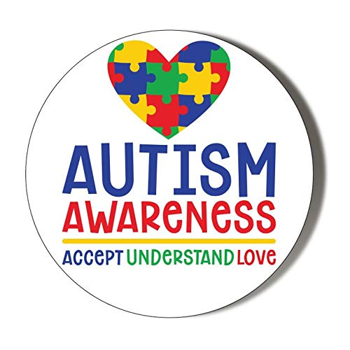 "Abrebotellas magnético de 58 mm con texto en inglés ""Autism Awareness Accept Understand Love"