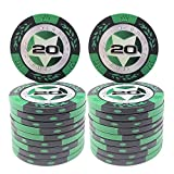 COSDDI 20 Piezas Fichas de Póker Casino Club Fichas de Póker a Granel - Elija Denominación ($20)
