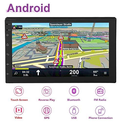 Hakeeta 17,8 cm (7 inch) WiFi Dual DIN Autoradio Stereo Multimedia Bluetooth 4.0 met GPS-antenne voor Android 8.1, 2Din MP5-speler met een groot bereik van 1G + 16G
