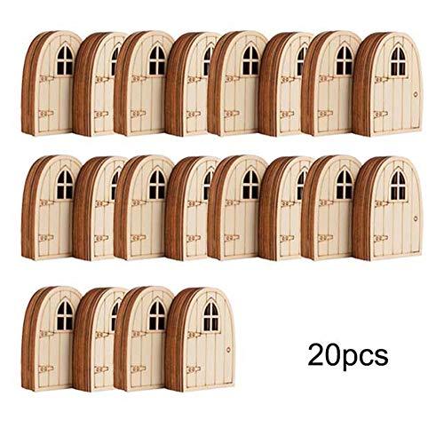 20 Piezas De Puerta De Elfo Mini Adornos De Madera Puerta Ventana Accesorios Artesanía Casa De Muñecas Decoración Artesanía En Miniatura De Bricolaje