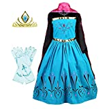 Vogue Elsa Coronation Dress Costume Tiara and Magic Wand Set (Blue with Accessories 1, 6-7 Years (140))