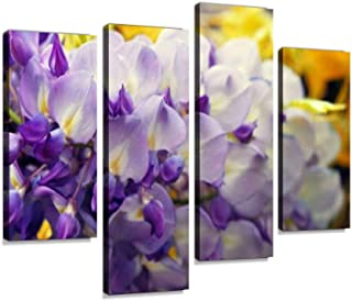 4 Panel wisteria blooming in the spring purple tree waterfall landscape Canvas Pictures Home Decor Gifts Canvas Wall Art f...