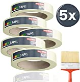 [page_title]-5x Malerkrepp 50 m * 38 mm / 250 Meter - Kreppband Klebeband Abklebeband Painty Tape für einfaches Streichen & Malerarbeiten