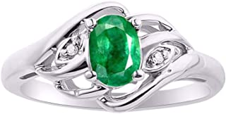 Diamond & Emerald Ring Set In Sterling Silver .925