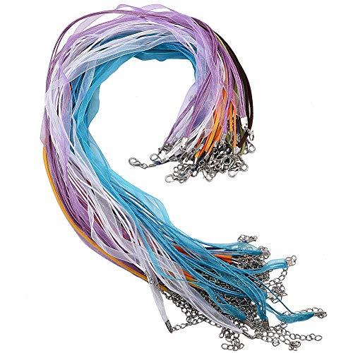 SUNNYCLUE 54pcs 3 Estilos Collar de Cordón con Cierre Incluye Cinta de Organza Collares Cordón Y Cordón de Gamuza Y Cordón de Cuero Encerado para Collar de Pulsera Accesorios de Fabricación de Joyas