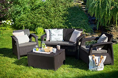Keter Corfu Garden Furniture Set Brown 2seater sofa 2x Chairs and Table