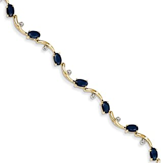14k Yellow Gold Polished Lobster Claw Closure Diamond and Sapphire Oval Bracelet