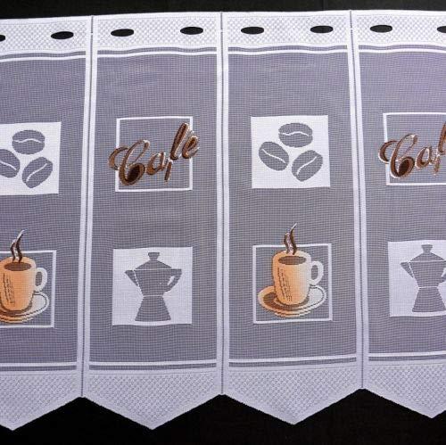 Clever-Kauf-24 Scheibengardine Kaffeetasse Cafebohnen Bedruckt Höhe 45cm oder 60cm | Breite der Gardine frei wählbar in 14cm Schritten | Gardine | Panneaux (Höhe 60cm)