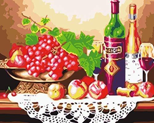 Heyazc Pintar por Numeros Adultos Niñost Principiantes, DIY Paint by Numbers, Pintura por Numeros Pintura al óleo para Decoración del Hogar 40X50cm Botella de Vino Tinto UVA Verde(Sin Marco)