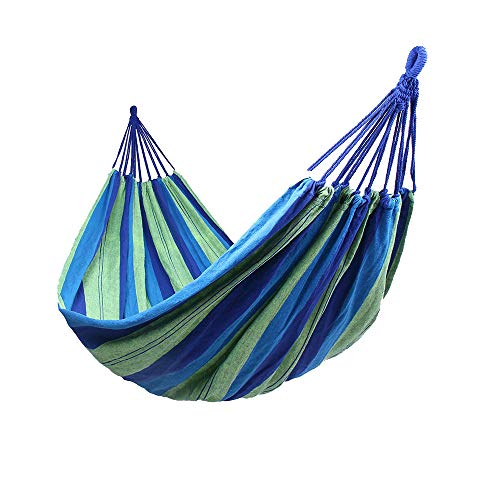 Hamacas Colgantes Jardin Exterior Algodon Lona Hamaca Portátil al Aire Libre Acampada Viaje para una Persona Carga de 150 kg Colorido (1 Persona, Azul)