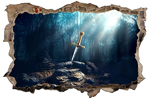 Schwert Ritter Mittelalter Wandtattoo Wandsticker Wandaufkleber D1157 Größe 40 cm x 60 cm