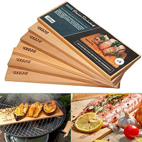 6er Pack Räucherbretter aus kanadischen Zedernholz | ca. 28x14x1cm Grillbretter bw. BBQ-Bretter ideal für Fisch Gemüse Fleisch | Räucherplanken für mehr Aroma & echtes Geschmackserlebnis