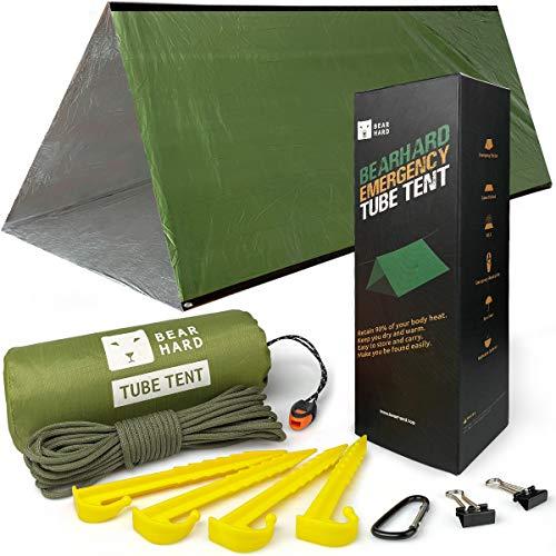 Bearhard-Not Zelt, 2-Personen-Schlauchzelt-Überleben Unterkunft mit Paracord, Einsatz ultraleichter Überlebenszelt-Notunterkunft Verwendung Einheitsgröße, für Camping, Wandern, Kajakfahren