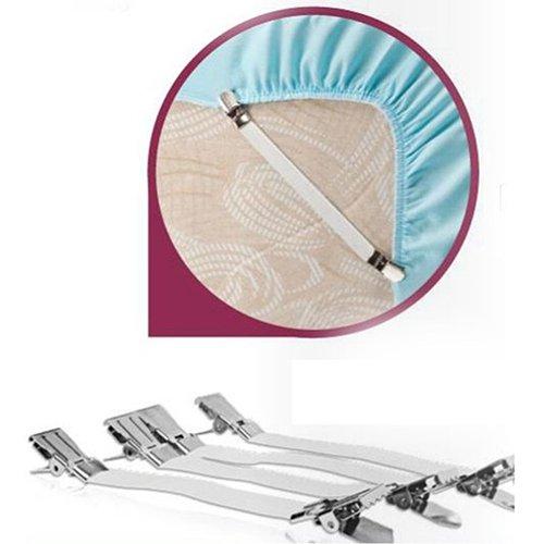 wsloftyGYd 4Pcs/Set Bed Sheet Strong Elastic Metal Nylon Fasteners Clip Grippers Holder Folding Anti-Slip Elastic Sheet Bedspread Buckle Tablecloth Holder 4-Piece Set