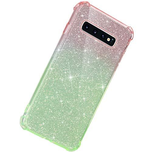 Herbests Kompatibel mit Samsung Galaxy S10 Hülle Durchsichtig Farbverlauf Glänzend Kristall Glitzer Transparent TPU Silikon Handyhülle Ultradünn Stoßfest Bumper Case Schutzhülle,Rot Grün