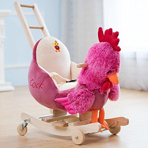 Cheval à bascule à double usage Rocking berceaux solide chaise berçante en bois pour 1-3 ans bébé enfant jouet cadeau -LI JING SHOP