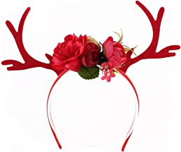 Corcrest - Reindeer Antlers Headband Christmas and Easter Party DIY Women Girs Kid Christmas Deer Costume Ear Party Hairband [Red]