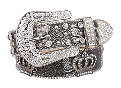 Snap On Rhinestone Crown Silver Circle Studded Genuine Leather Belt, Silver | L/XL - 39