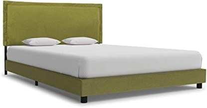 vidaXL Bed Frame Fabric Upholstered Bedroom Furniture Bed Base Soft Padded Headboard Sleeping Comfort Mattress Foundation ...