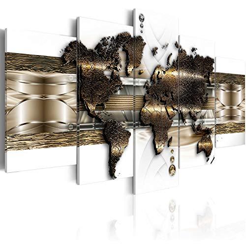 murando Acrylglasbild Weltkarte 200x100 cm 5 Wandbild auf Acryl Glas Bilder Kunstdruck Moderne Wanddekoration - Landkarte Reise Gold weiß k-A-0022-k-n
