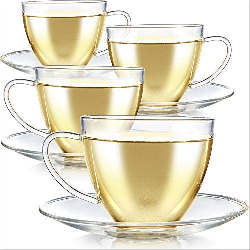 Teabloom Royal Teacup and Saucer Set 4-Pack – Large Size – 12 OZ/ 350 ML Capacity – Crystal Clear Classic Design – Glass Mug Set – Premium, Healthful Borosilicate Glass – Odor and Stain-Free