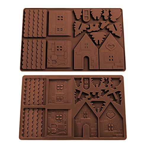 Whaline 2 x Weihnachts-Schokoladen-Backform Lebkuchenhaus-Form aus Silikon, antihaftbeschichtet, für Eiswürfel, Gelee, Kuchen, Pudding, Fondant, Weihnachtsparty-Dekorationen
