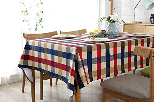 Homeerr di divano biancheria da tavola da pranzo tovaglia in cotone spessa per cucina casa uso interno o esterno party Holiday color gingham Style, Navy Blue Red Plaid, 140X140CM