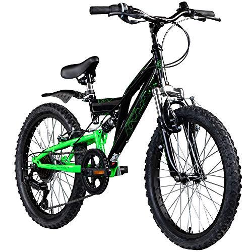 Kinderfahrrad MTB 20 Zoll Fully Galano FS180 Fahrrad Full Suspension ab 6 Jahre (schwarz/grün, 31 cm)