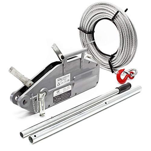 Seilzug bis 1600 kg mit 20 m Seil Ø 11 mm, mit Abscherstift und Lasthaken, zum Ziehen/Spannen/Heben