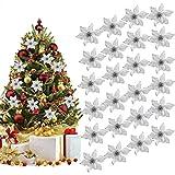 Outgeek Flores de Navidad, 24 Piezas 5.91' Flor de Navidad Artificial con Purpurina de Navidad para Árbol de Navidad Guirnalda Ornamento de la decoración del Partido