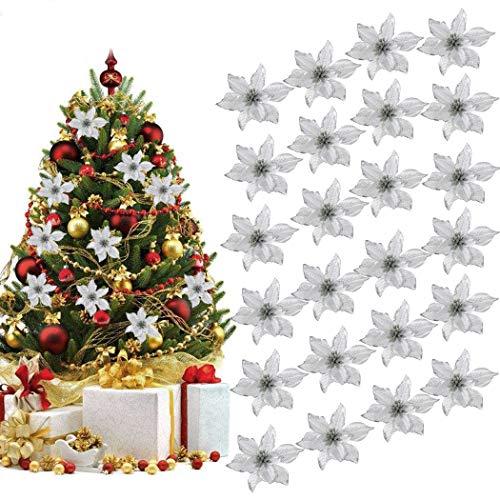 Outgeek Flores para Navidad, 24 Piezas 5.91'Flor de Navidad Artificial con Purpurina de Navidad para...