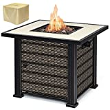 Giantex 30' Square Propane Gas Fire Pit Table 50,000 BTUs Heater Outdoor Table w/Lava Rock & Protective Cover (Gold & Brown)