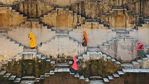Puzzel Voor Volwassenen 1500 Stukjes, Lokale Vrouwen Beklimmen Trapputten In De Buurt Van Amber Fort, Jaipur, Rajasthan, India, Uniek Verjaardagscadeau