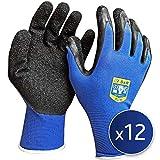 """S&R Arbeitshandschuhe 12 Paar XL aus NYLON mit LATEX-Beschichtung, """"DRIVE-GRIP®""""-Technologie Schutzhandschuhe geeignet für den privaten und gewerblichen Gebrauch (XL/10)"""