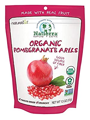 Nature's All Foods Organic Freeze-Dried Pomegranate Arils | Non-GMO & Vegan | 1.3 Ounce (Pack of 12)