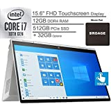 """2020 HP Envy x360 2-in-1 15.6"""" FHD Touchscreen Laptop Computer, 10th Gen Intel Quard-Core i7 1065G7 up to 3.9GHz, 12GB DDR4 RAM, 512GB PCIe SSD + 32GB Optane, WiFi 6, Windows 10, BROAGE Mouse Pad"""