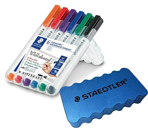 Staedtler Lumocolor Whiteboard-Marker (6er Etui + Staedtler Löscher)
